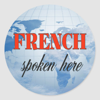 French spoken here cloudy earth classic round sticker