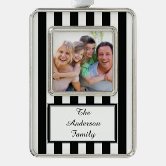 French Stripes in Black Silver Plated Framed Ornament
