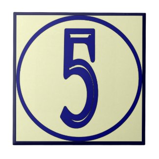 French Style House Numbers 5 Tiles