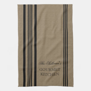 French Style Stripe Burap Personalized Kitchen Towel