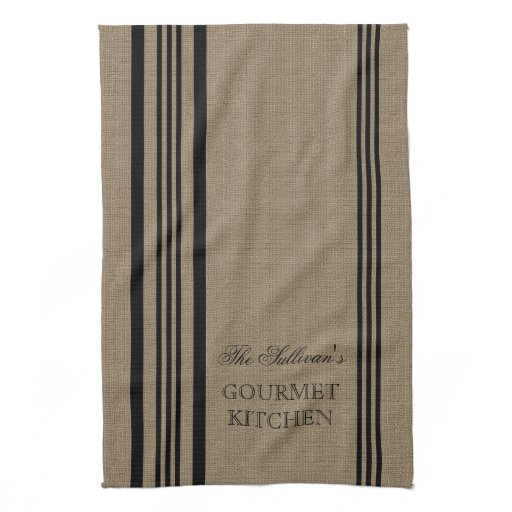 French Style Stripe Burap Personalized Kitchen Towel