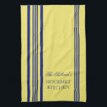 """French Style Stripe Personalized Kitchen Towels<br><div class=""""desc"""">Blue and Yellow French Style Stripe Personalized Kitchen Towels. Personalize all text as you desire.  Click &quot;customize&quot; to resize text or change font styles.</div>"""