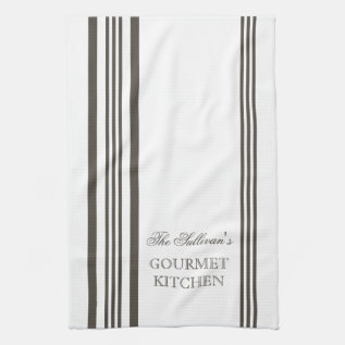 French Style Stripe Personalized Kitchen Towels at Zazzle