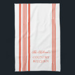"French Style Stripe Personalized Kitchen Towels<br><div class=""desc"">Tangerine and White French Style Stripe Personalized Kitchen Towels. Personalize all text as you desire.  Click &quot;customize&quot; to resize text or change font styles.</div>"