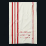 "French Style Stripe Personalized Kitchen Towels<br><div class=""desc"">Red and White French Style Stripe Personalized Kitchen Towels. Personalize all text as you desire.  Click &quot;customize&quot; to resize text or change font styles.</div>"