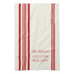French Style Stripe Personalized Kitchen Towels<br><div class='desc'>Red and White French Style Stripe Personalized Kitchen Towels. Personalize all text as you desire.  Click &quot;customize&quot; to resize text or change font styles.</div>