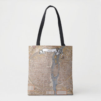 French Teacher Gift Paris Map Personalized Tote Bag
