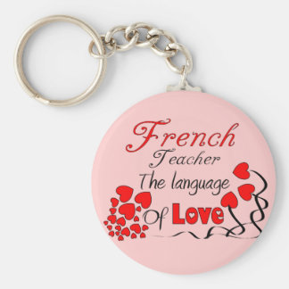 "French Teacher Gifts ""The Language of Love"" Basic Round Button Keychain"