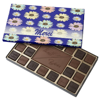 French Thank You Daisies on Blue Chocolate Box