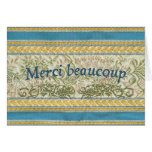 French Thank You, Embroidered Fabric Greeting Cards