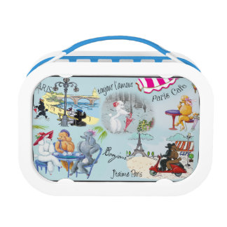 French Theme Paris Poodle Collage Lunch Box