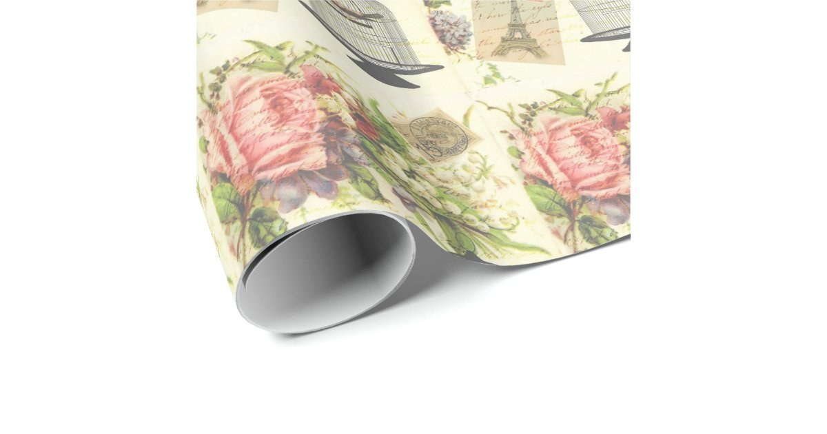 French Theme Vintage Paris Wrapping Paper Zazzle Com