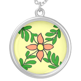 French Tiles Orange Flower Silver Plated Necklace