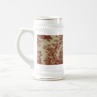 French Toile in Pink 18 Oz Beer Stein