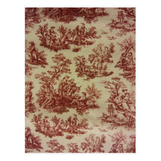 French Toile in Pink Postcard
