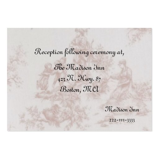 French Toile Wedding Enclosure Cards Large Business Cards Pack Of 100