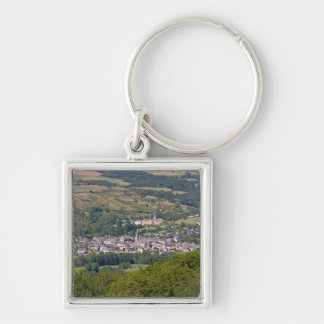 French Town Silver-Colored Square Keychain