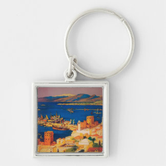 French Travel Poster, Touring in Syria Key Chains