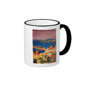 French Travel Poster, Touring in Syria Coffee Mug