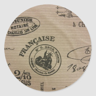 French Travel Stamps Classic Round Sticker