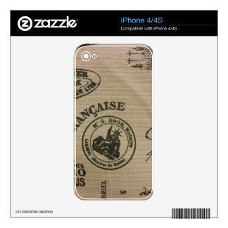French Travel Stamps Skin For iPhone 4