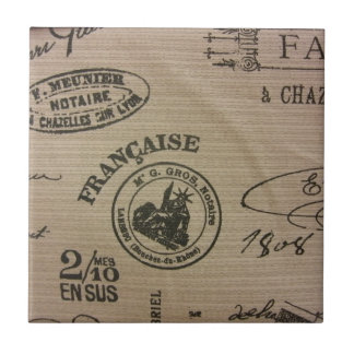 French Travel Stamps Tile