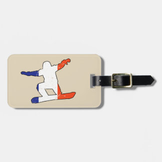 French Tricolor SNOWBOARDER (blk) Luggage Tag