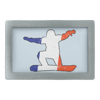 French Tricolor SNOWBOARDER (blk) Rectangular Belt Buckle