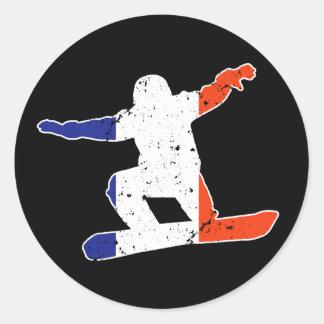 French Tricolor SNOWBOARDER (wht) Classic Round Sticker