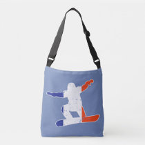 French Tricolor SNOWBOARDER (wht) Crossbody Bag