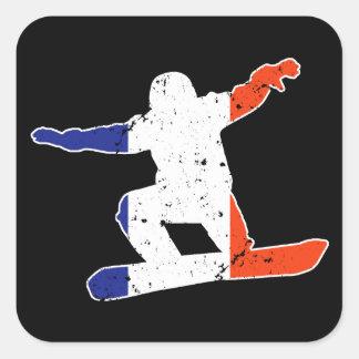 French Tricolor SNOWBOARDER (wht) Square Sticker