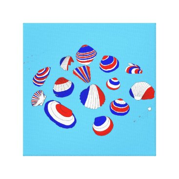 Beach Themed French Tricolore Shells Canvas Print