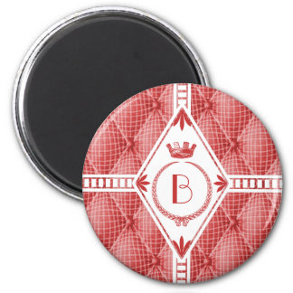 French Trompe L'oeil Tufted Red Diamond Monogram 2 Inch Round Magnet