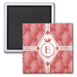 French Trompe L'oeil Tufted Red Diamond Monogram 2 Inch Square Magnet