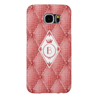 French Trompe L'oeil Tufted Red Quilted Monogram Samsung Galaxy S6 Cases