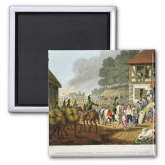 French Troops Retreating Through and Plundering a 2 Inch Square Magnet