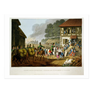 French Troops Retreating Through and Plundering a Postcard