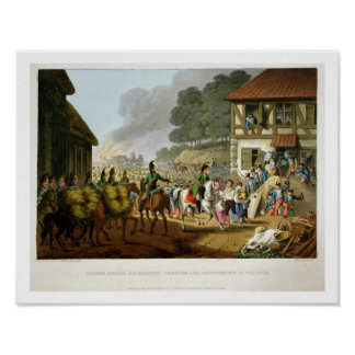 French Troops Retreating Through and Plundering a Poster