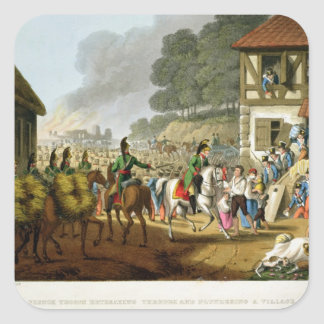 French Troops Retreating Through and Plundering a Square Sticker