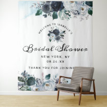 French Twilight Floral Boho Bridal Shower Welcome Tapestry