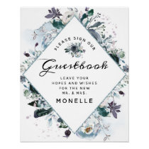 French Twilight Floral Boho Wedding Guestbook Sign
