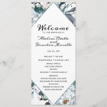 French Twilight Floral Diamond Wedding Ceremony Program