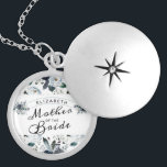 """French Twilight Floral Vintage Mother of the Bride Locket Necklace<br><div class=""""desc"""">French Twilight Floral Watercolor Vintage Bohemian Fall or Winter Design with Boho flowers, Feathers, Hand Painted vines, and plenty of colorful navy blue, lavender, purple, silver, dusty grey blue, forest green teal leaves and foliage. With Elegant Hand Lettered Script Fonts, and Chic Curved text frame Mother of the Bride Necklace!...</div>"""