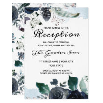 French Twilight Floral Vintage Wedding Reception Invitation