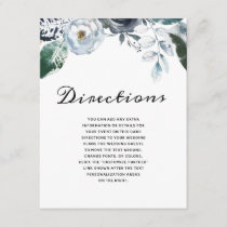 French Twilight Floral Watercolor Boho Directions Enclosure Card