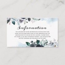 French Twilight Floral Watercolor Boho Information Enclosure Card