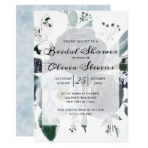 French Twilight Floral Watercolor Bridal Shower Invitation