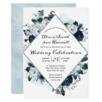 French Twilight Floral Watercolor Wedding Ceremony Invitation