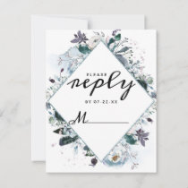 French Twilight Floral Watercolor Wedding Reply RSVP Card