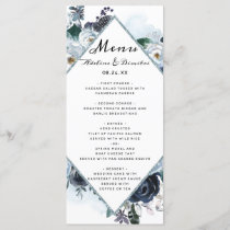 French Twilight Floral Wedding Reception Dinner Menu